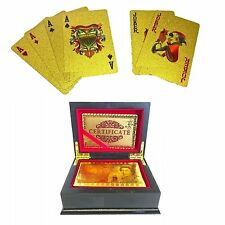 24K £ GOLD PLATED PLAYING CARDS FULL POKER DECK 99.9% PURE BOX with Certificate