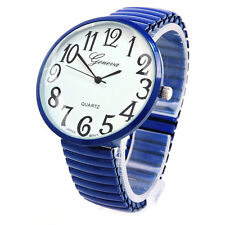 Navy Blue Super Large Round Face Easy to Read Unisex Geneva Stretch Band Wat