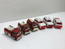 Vintage Tootsie Toy Fire / Rescue Trucks Diecast Metal And Plastic Lot Of 6