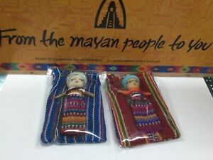 2 x Large WORRY DOLL In Textile Bag - Handmade In Guatemala