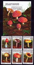 BENIN 1997 MUSHROOM FUNGI SET SCOTT 1029-34 + 1035 SOUVENIR SHEET