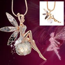Femme Ailes Ange Papillon Fée Strass Collier Cristal Longue Chaîne Chandail Pull