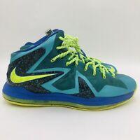 Nike Lebron 10 X Elite Men Size 16 Miami Dade Turqoise Green Volt 579827-300