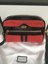 Gucci Ophidia Red Suede Black Patent Trim Web Stripe Mini Crossbody Bag NEW