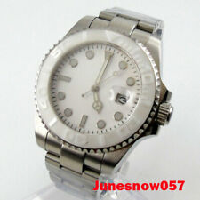 40mm Sterile Dial White Ceramic Bezel Automatic Men's Watch Movement Date Window