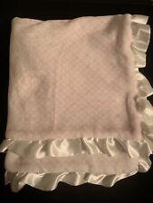 Piccolo Bambino Luxe Soft Pink Satin Ruffle Trim Baby Blanket