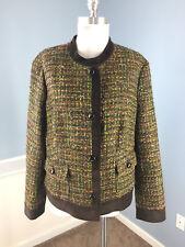 Talbots 16 Brown Green Tweed Suit Jacaket blazer Career Cocktail EUC Cotton