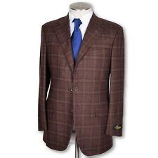 new Belvest dark brown Windowpane Wool Cashmere Dual Vent Sportcoat 40 40r NWT
