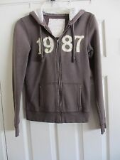 AEROPOSTALE BROWN HOODIE WITH 1987 ON FRONT ZIPPER LONG SLEEVED SMALL