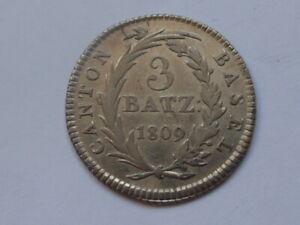 Swiss Silver Coin - 3 Batzen Canton Basel - 1809