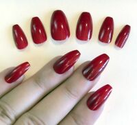 Hand Painted False Nails COFFIN (Or Any) Gloss Dark Red Stick On Nails Fake