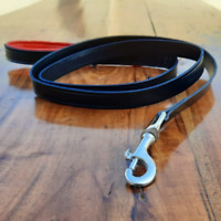Black Leather Dog Leash With Padded Handle Training Pet Lead 5.5 Ft Heavy Duty