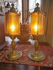 """Pair Orig 17"""" Medieval Antique 1920 Art Nouveau Deco Table Lamps Cylinder Shades"""