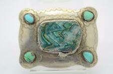 Native American .925 Silver & Turquoise Belt Buckle {53711B4}