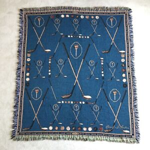 Golf Clubs Tee Ball Tapestry Throw Blanket Blue Signature 62x55