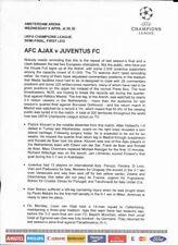 AJAX v JUVENTUS - CHAMPIONS LEAGUE - 9 APRIL 1997 - PRESS KIT (13 PAGES)