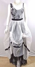 Nataya Dress VINTAGE LOOK Black/White wedding Party formal victorian steampunk S