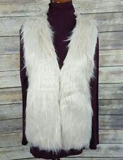 2 Chic Women's Faux Fur Gilet Vest Coat Pockets Hip Length Size M/L ~New