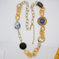 Chico's signed jewelry huge beads long necklace chain resin necklace for women