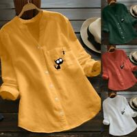 Women Cotton Linen Casual Cat Printed Blouse Long Sleeve Shirt Button Down Tops