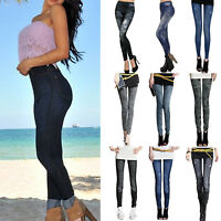 Womens Stretch Skinny Pencil Pants Denim High Waisted Slim Fit Jeggings Trousers