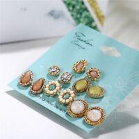 6 Pairs/Set Fashion Rhinestone Crystal Pearl Earrings Set Women Ear Stud Jewelry