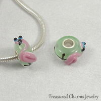 Pink Flamingo Lampwork Glass Large Hole Bead Charm fits European Bracelets