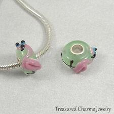 Pink Flamingo Lampwork Glass Large Hole Bead Charm fits European Bracelets