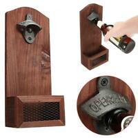 Wall Mounted Bottle Cap Opener with Cap Catcher Wood Barrel Rustic Keg Home P3U0