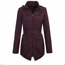 Womens Plus Size Lightweight Hooded Showerproof Rain Coat Jacket Mac Mulberry 10