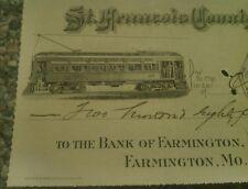 1905 St. Francisville MO Railway Co. bank check STREETCAR Buxton & Skinner Litho