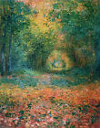 CLAUDE MONET ~ Forest Understory Landscape~ *FRAMED* CANVAS ART 18x12""