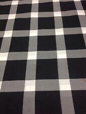 "Sheeting Fabric Black/ White & Grey Check 100% Cotton 94"" 240 Cm"
