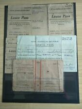 Royal Australian Air Force 10 Items A. A. Robertson Leave Pass, Ration Tickets