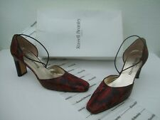 Russell & Bromley Red Brown Black Leather Snake Print Court Shoes + Box - UK 5