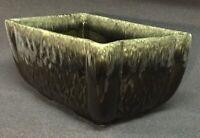 Vintage, Green Glazed Earthenware Pottery, Marked USA, Rectangular Planter, VGC+