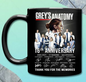Grey's Anatomy 16th Anniversary Thank You For The Memories Black Coffee Mug