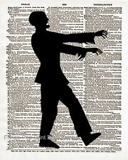 Zombie Silhouette Art Print 8 x 10 - Dictionary Page - Goth Horror Apocalypse
