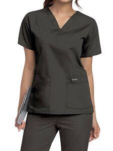 Landau Women's V-Neck Tunic Scrub Top, Style 8219, Black, 4XL