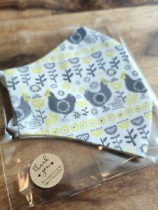 CHICKEN FARM Handmade Resusable Face Mask with Filter Pocket UK MADE Fairtrade