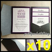 10 X BLACK SHIMMER WEDDING POCKET INVITATIONS DIY POCKETFOLD ENVELOPES INVITE