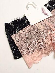 NWT 2Pack Jessica Simpson Panties Boyshort SizeS Pink Salmon Black Lace Mesh