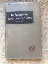 In Memorium Juan Comas Camps (1900-1979) HB Book IN SPANISH Mexico, 1980 1st Ed.
