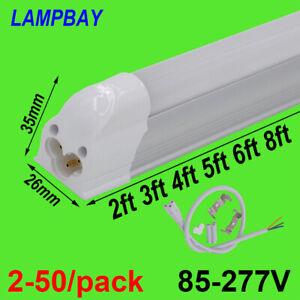 2-50/pack LED T5 Integrated Tube Light 2FT 3FT 4FT 5FT 6FT 8FT Slim Lamp 85-277V