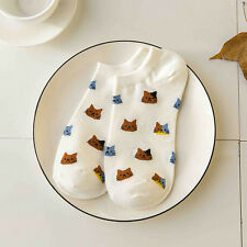 White Womens Sport Casual Low Cut Cotton Socks Cute Cat Ankle High Chic Sock