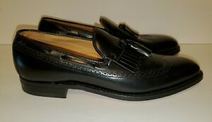Johnston & Murphy Aristocraft Black KiltieTassel Wingtip Loafers Size 10 2A New