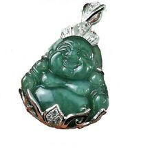 Silver 925 Jade Pendant Buddha Smile Sterling Natural Carved Dark Green Genuine
