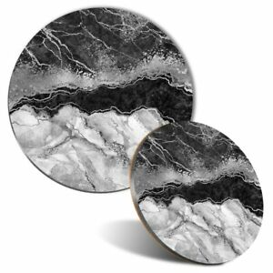 Mouse Mat & Coaster Set - BW - Marbled Art Effect Marble  #42493