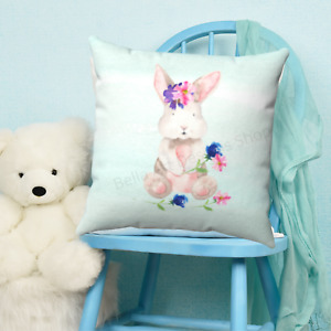 Baby Bunny Childrens Throw Pillow - Nursery Room - Kids Bedroom Decor - Gift