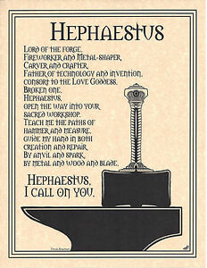PRAYER HEPHAESTUS GOD OF METALSMITHING FIRE FORG Page Poster Wicca Pagan 81/2x11
